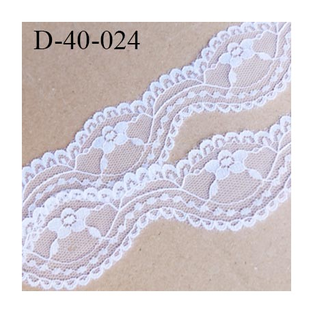 Dentelle 40 mm synthétique couleur blanc  largeur 40 mm prix au mètre
