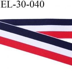 élastique 30 mm aspect velours spécial lingerie , sport très belle qualité bleu blanc rouge doux certifié oeko tex prix au mètre