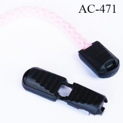 embout de  cordon pliable couleur noir, idéal  pour cordon 3 à 5 mm  longueur plié 21 mm largeur 12 mm prix à l'unité
