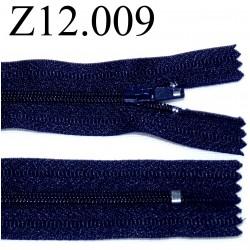 fermeture éclair longueur 12 cm couleur bleu non séparable zip nylon largeur 2.5 cm