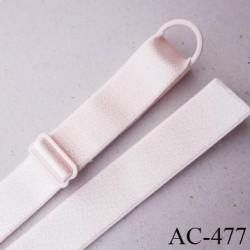 Bretelle 20 mm lingerie SG couleur crème rosé brillant haut de gamme finition avec 1 barettes + 1 anneau prix a la pièce