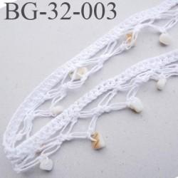 Galon dentelle 32 mm en coton blanc avec petits galets brillant style onyx largeur 32 mm prix au mètre