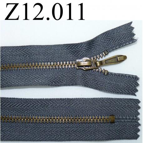 fermeture éclair longueur 12 cm couleur gris  non séparable zip nylon