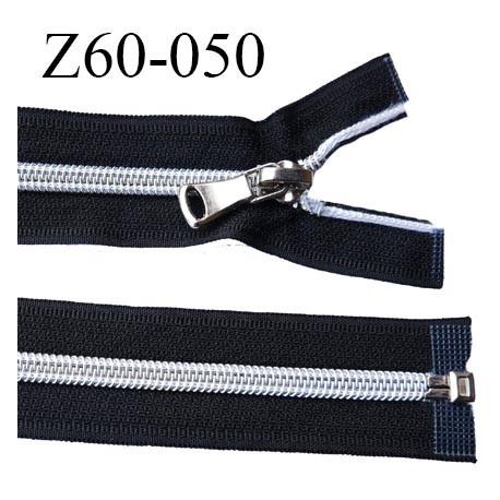fermeture zip 60 cm noir séparable avec glissière nylon argenté  largeur 3.3 cm largeur de la glissière 6.4 mm curseur en métal