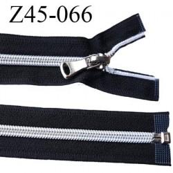 fermeture zip 45 cm noir avec glissière nylon argenté  largeur 3.3 cm largeur de la glissière 6.4 mm curseur en métal
