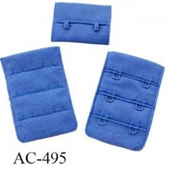Agrafe attache 38 mm  de soutien gorge 3 rangés 2 crochets largeur 38 mm hauteur 55 mm couleur bleu summer