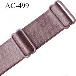 Bretelle 20 mm lingerie SG couleur bois de rose brillant haut de gamme grande marque finition 2 barettes  prix a la pièce