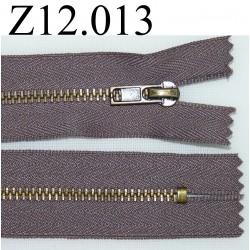 fermeture éclair longueur 12 cm couleur marron taupe  non séparable zip métal