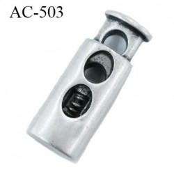 Stop cordon 2 trous  4 mm couleur nikel hauteur 27 mm largeur 10 mm épaisseur 6 mm passage du cordon max en largeur 4 mm