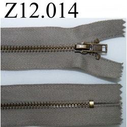 fermeture éclair longueur 12 cm couleur kaki  non séparable zip métal