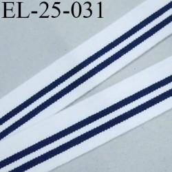 Elastique 25 mm  lingerie ou caleçon couleur blanc et rayures bleu marine Fabriqué en France largeur 25 mm prix au mètre