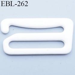 Crochet métal 15 mm plastifié couleur blanc brillant largeur intérieur de passage de bretelle 15 mm haut de gamme prix / pièce