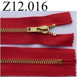 fermeture éclair longueur 12 cm couleur rouge  non séparable zip métal