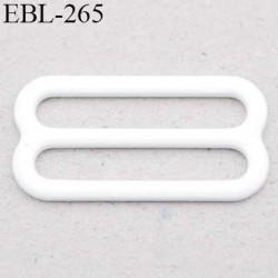 boucle de réglage 18 mm  réglette métal plastifié blanc brillant pour soutien gorge largeur intérieur 18 mm  haut de gamme