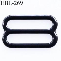 boucle de réglage 18 mm  réglette métal plastifié noir brillant pour soutien gorge largeur intérieur 18 mm  haut de gamme