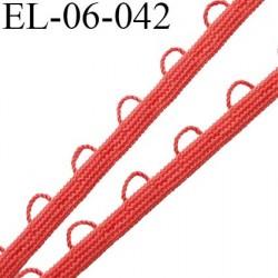 Elastique boutonnière picot 6 mm spécial lingerie couleur orange corail fabriqué en France largeur 6  mm prix au mètre