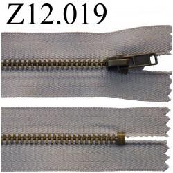 fermeture éclair longueur 12 cm couleur beige  non séparable zip métal