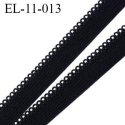 élastique 11 mm picot lingerie couleur noir 9 mm de bande et 2 mm de picot fabriqué en France prix au mètre