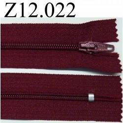 fermeture éclair longueur 12 cm couleur bordeau non séparable zip nylon