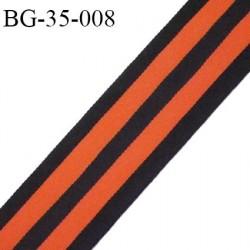 galon ruban 35 mm sangle fine petit grain couleur noir et orange très solide polyamide largeur 35 mm prix au mètres