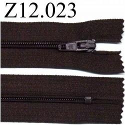 fermeture éclair longueur 12 cm couleur marron non séparable zip nylon