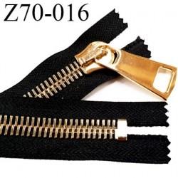 Fermeture zip à glissière en métal  longueur 70 cm couleur noir non séparable  largeur 4 cm zip glissière largeur 12 mm