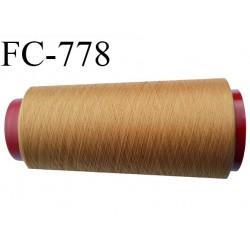 Cone de 5000 m fil polyester n° 120 couleur rouille clair ou caramel blond longueur de 5000 mètres bobiné en France