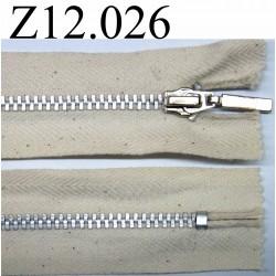 fermeture éclair longueur 12 cm couleur écru avec petits points chiné non séparable zip métal