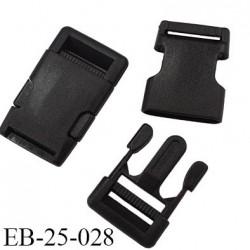 boucle clip en plastique noir haut de gamme passage pour une sangle de 25 mm largeur extérieur 64 mm hauteur 39 mm