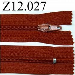 fermeture éclair longueur 12 cm couleur rouille non séparable zip nylon