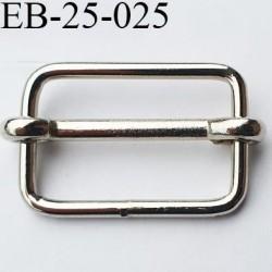 Boucle etrier rectangle coulissant métal chromé largeur extérieur 3 cm largeur intérieur 2.6 cm hauteur 2.1 cm