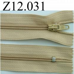 fermeture éclair longueur 12 cm couleur beige non séparable zip nylon