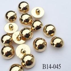 bouton 14 mm pvc couleur doré or accroche avec un anneau diamètre 14 millimètres