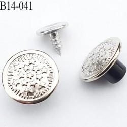 Bouton pour jeans 14 mm en métal couleur métal lumineux avec le clou 14 millimètre prix pour le clou et le bouton