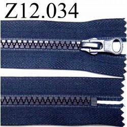 fermeture éclair longueur 12 cm couleur bleu non séparable zip nylon largeur 3,3 cm largeur du zip 5,5 mm