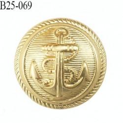 bouton 25 mm en pvc ancre marine couleur or doré diamètre 25 mm accroche au dos avec un anneau prix a la pièce