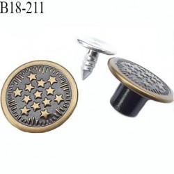 Bouton pour jeans 18 mm en métal couleur laiton et noir avec le clou 18 millimètre prix pour le clou et le bouton