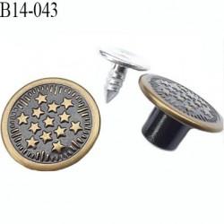 Bouton pour jeans 14 mm en métal couleur laiton et noir avec le clou 14 millimètre prix pour le clou et le bouton
