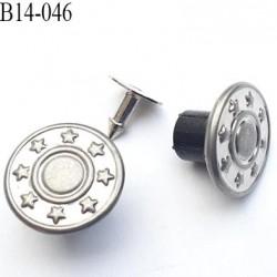 Bouton pour jeans 14 mm en métal couleur aluminium avec le clou 14 millimètre prix pour le clou et le bouton