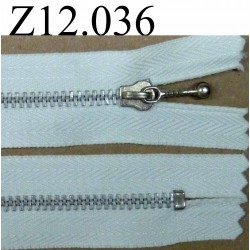 fermeture éclair longueur 12 cm couleur blanc non séparable zip métal