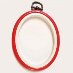 tambour plastique oval rouge 10 cm pour encadrer et réaliser vos ouvrages