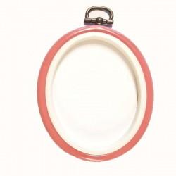 tambour plastique oval vieux rose 10 cm pour encadrer et réaliser vos ouvrages