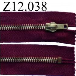 fermeture éclair longueur 12 cm couleur bordeau non séparable zip métal