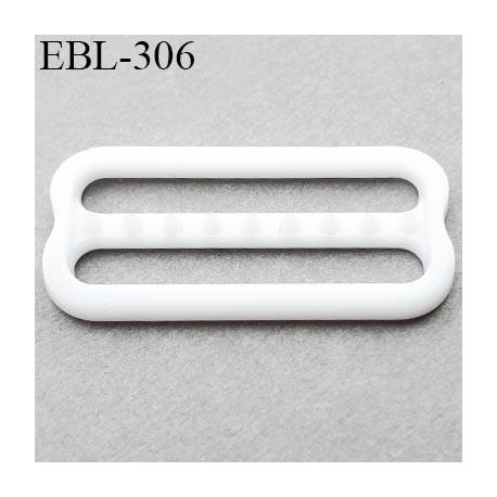réglette 22 mm réglage de bretelle soutien gorge pvc blanc avec picot pour bloquer la bretelle largeur intérieur 22 mm