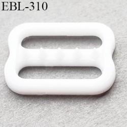 réglette 12 mm réglage de bretelle soutien gorge pvc blanc avec picot pour bloquer la bretelle largeur intérieur 12 mm