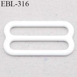 boucle de réglage 12 mm réglette métal plastifié blanc brillant  largeur 12 mm intérieur prix à l'unité haut de gamme