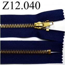 fermeture éclair  longueur12 cm couleur bleu non séparable zip métal largeur 3.3 cm largeur du zip 6 mm