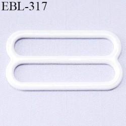 boucle de réglage 23 mm  réglette métal plastifié  blanc brillant pour soutien gorge largeur intérieur 23 mm  haut de gamme