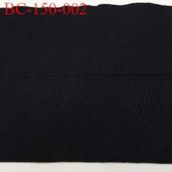 Bord côte jersey synthétique pré plié  largeur 2 fois 95 mm largeur total 190 mm longueur 85 cm couleur noir prix à la pièce