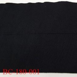 Bord côte 180 mm jersey synthétique pré plié 2 fois 90 mm largeur total 180 mm longueur 85 cm couleur noir prix à la pièce